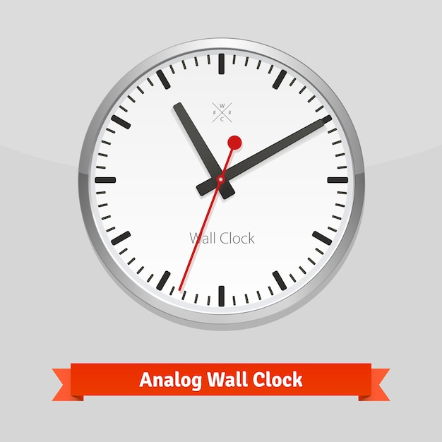Orologio da parete design in un rivestimento in metallo Vettore gratuito