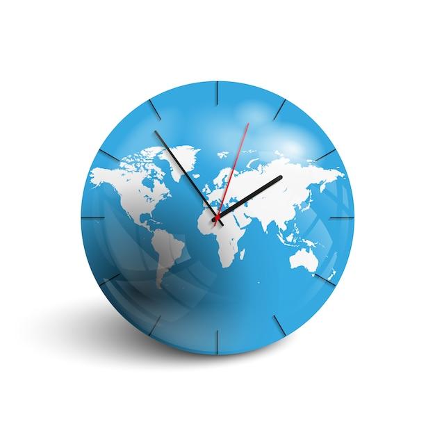 Orologio da parete sulla mappa del mondo. Vettore Premium