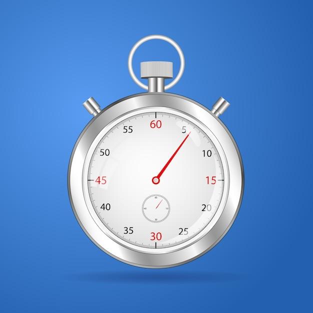 Orologio realistico del cronometro del cronometro del cronometro realistico Vettore Premium