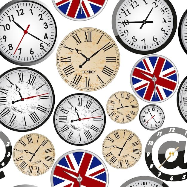 Orologio senza cuciture Vettore Premium