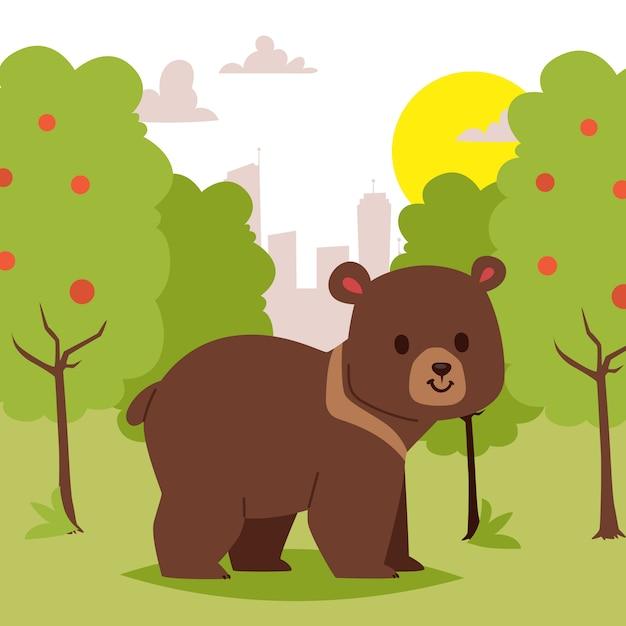 Orso animale del fumetto selvaggio che cammina nell'illustrazione di area verde. scena bellissima natura. simpatico orso divertente Vettore Premium