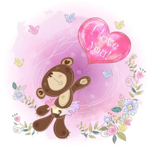Orso ballerina con un palloncino a forma di cuore. san valentino. Vettore Premium