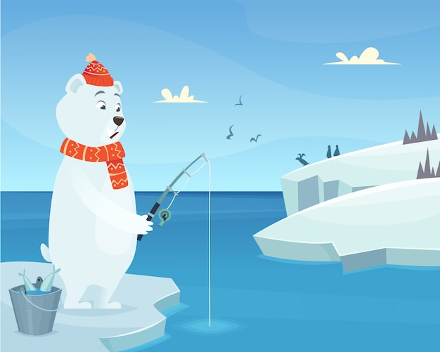 Orso bianco. carattere permanente animale di inverno del ghiaccio dell'iceberg nello stile del fumetto Vettore Premium
