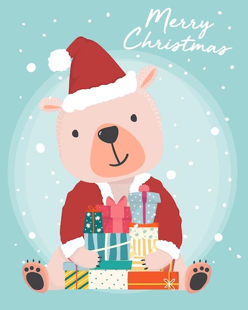 Orso bruno sveglio felice indossa l'attrezzatura di babbo natale che tiene i contenitori di regalo presenti con la caduta della neve Vettore Premium