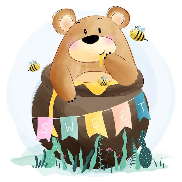 Orso carino mangiare miele Vettore Premium