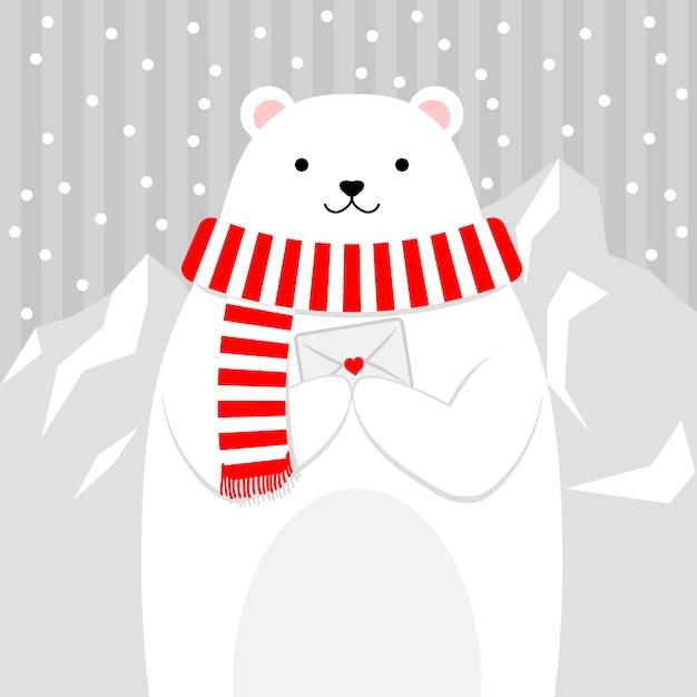 Orso carino nella neve in possesso di una lettera Vettore Premium