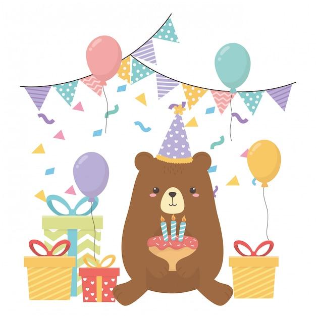 Orso dei cartoni animati con buon compleanno Vettore Premium