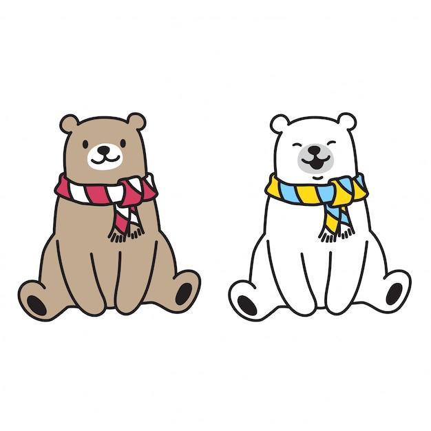 Orso e orso polare seduti Vettore Premium