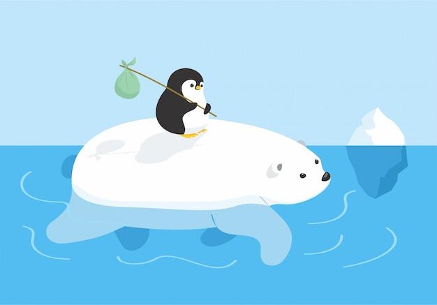 Orso e pinguino in viaggio Vettore Premium