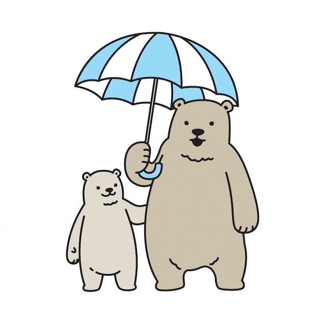 Orso personaggio dei cartoni animati dell'orso dell'orso polare di vettore Vettore Premium