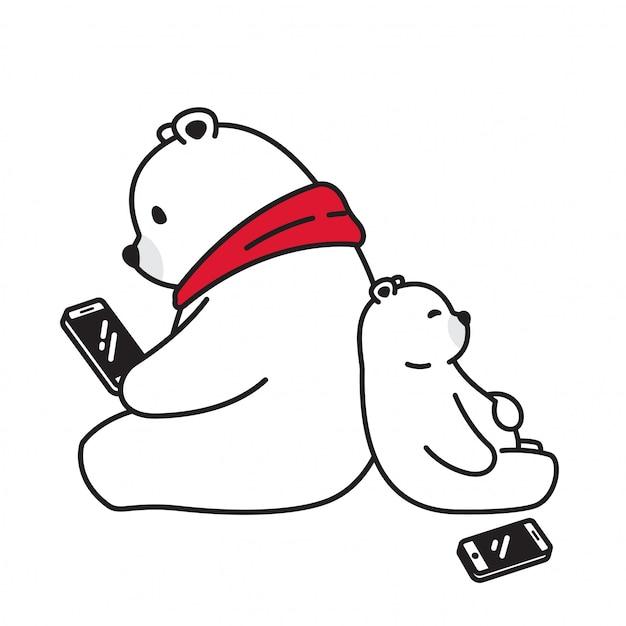 Orso personaggio dei cartoni animati tablet smartphone orso polare Vettore Premium