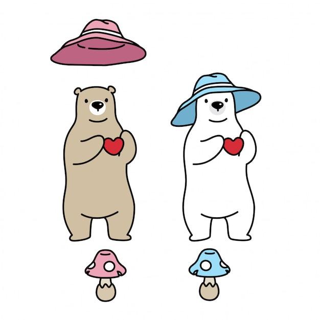 Orso polare con cappello Vettore Premium