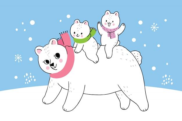 Orso polare della madre e del bambino di inverno sveglio del fumetto Vettore Premium