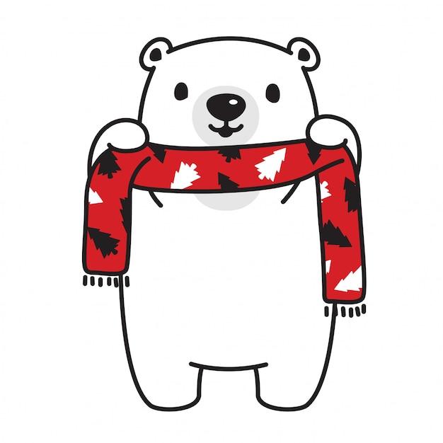 Orso polare fumetto albero di natale orso sciarpa vettoriale Vettore Premium
