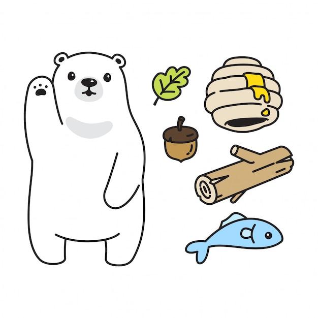 Orso polare honey ape cartoon Vettore Premium