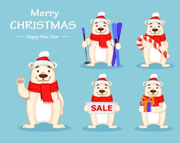Orso polare in cappello e sciarpa di natale Vettore Premium