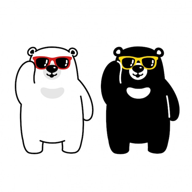 Orso polare orso occhiali da sole personaggio dei cartoni animati Vettore Premium