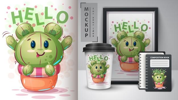 Orso poster di cactus e merchandising Vettore Premium