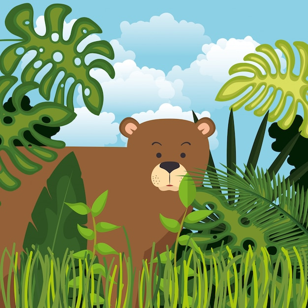 Orso selvatico grizzly nella scena della giungla Vettore gratuito