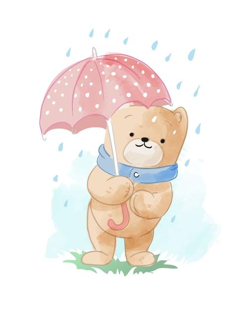 Orso simpatico cartone animato nell'illustrazione pioggia Vettore Premium