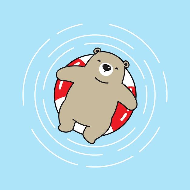 Orso vettore icona piscina dell'orso polare dell'orso Vettore Premium