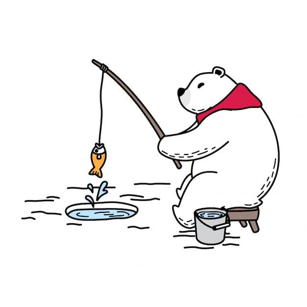 Orso vettore polare pesca sciarpa cartone animato Vettore Premium
