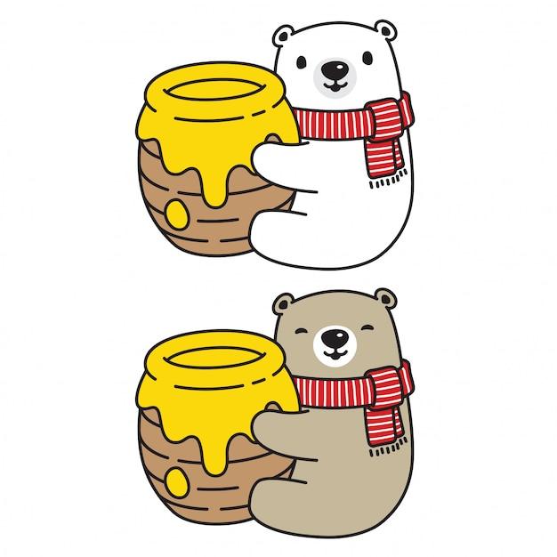 Orso vettoriale orso polare ape personaggio dei cartoni animati Vettore Premium