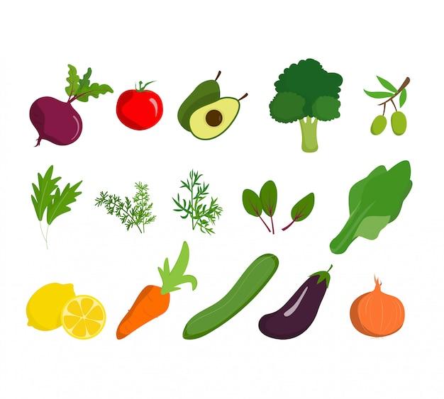 Ortaggi biologici sano alimenti biologici e vegani prodotto bio naturale. Vettore Premium