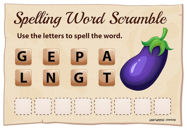 Ortografia parola scramble gioco modello con melanzane parola Vettore gratuito