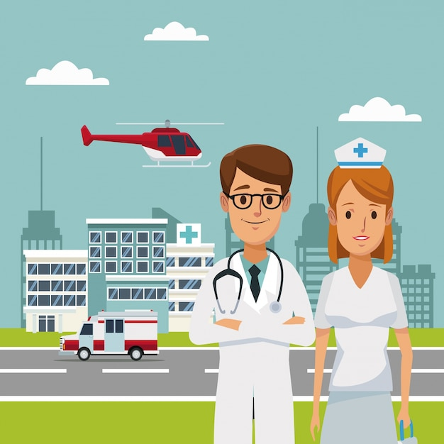 Ospedali con ambulanza e medici specialisti in volo con elicotteri Vettore Premium