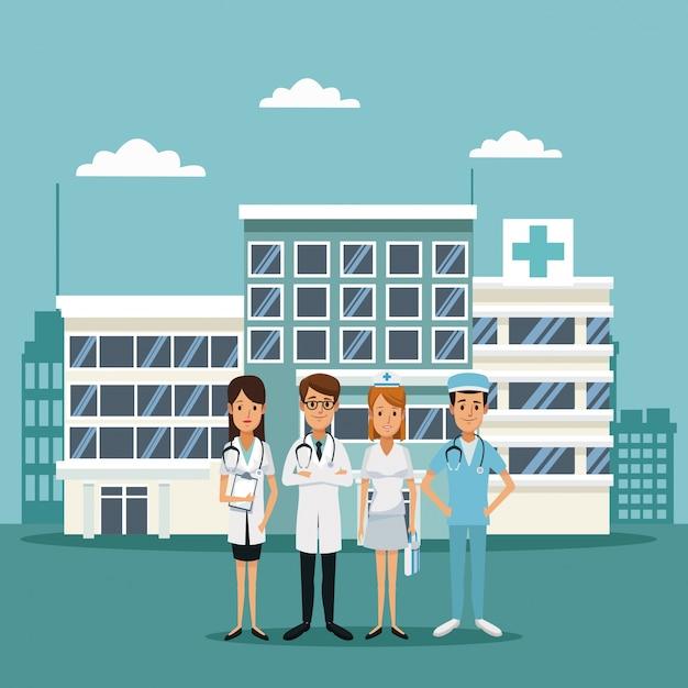Ospedali con medici specialisti del personale Vettore Premium