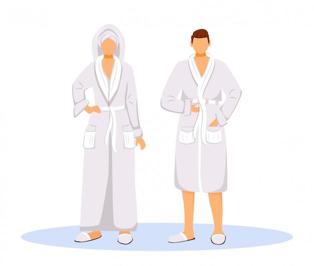 Ospiti dell'hotel indossando accappatoi illustrazione di colore piatto vettoriale. donna con asciugamano sulla testa e uomo. coppia in abito. la gente dopo la doccia ha isolato i personaggi dei cartoni animati Vettore Premium