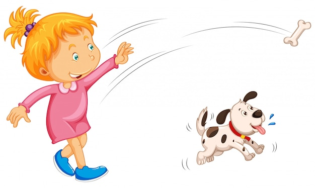 Osso e cane di lancio della ragazza che lo prendono Vettore gratuito