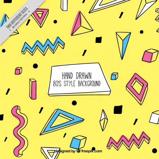 Ottanta sfondo giallo con le figure disegnate a mano Vettore gratuito