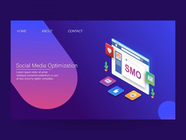 Ottimizzazione dei social media Vettore Premium