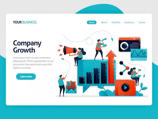 Ottimizzazione e sviluppo della crescita aziendale con landing page pubblicitarie e promozionali Vettore Premium