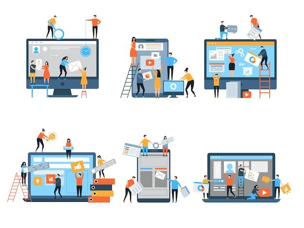 Ottimizzazione seo delle pagine web in costruzione Vettore Premium