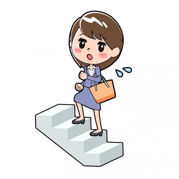 Salire Le Scale Disegno.Out Line Business Woman Per Salire Le Scale Vettore Premium