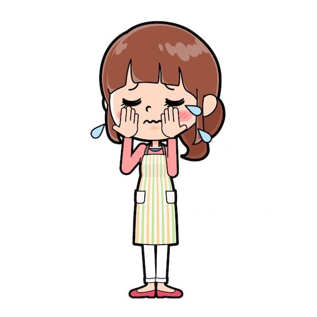 Out line grembiule mamma piange Vettore Premium