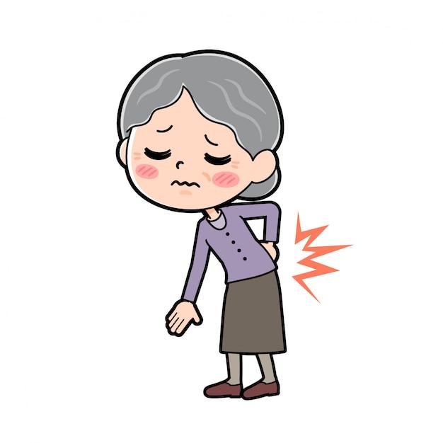 Out line purple indossa nonna_low-mal di schiena Vettore Premium