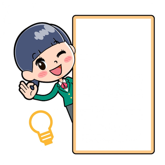 Out line school girl green board hansin ok Vettore Premium