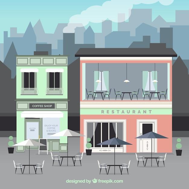 Outdoor costruzione cafe Vettore gratuito