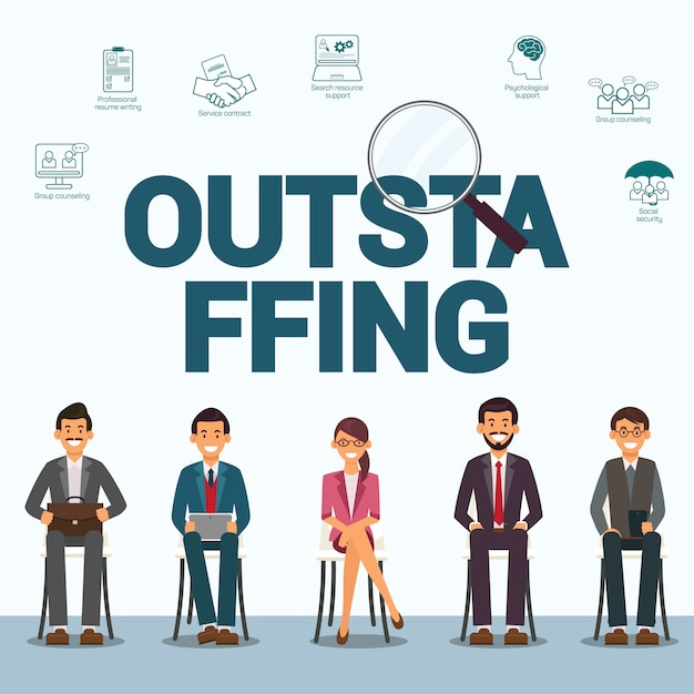 Outstaffing personnel flat vector banner template Vettore Premium