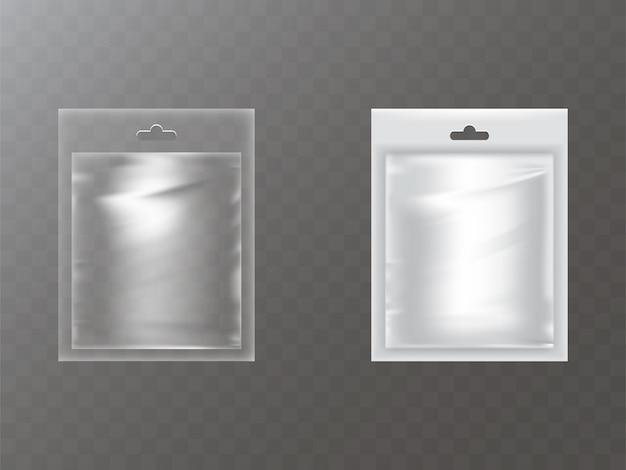 Pacchetti di plastica con fori per le mani realistici Vettore gratuito