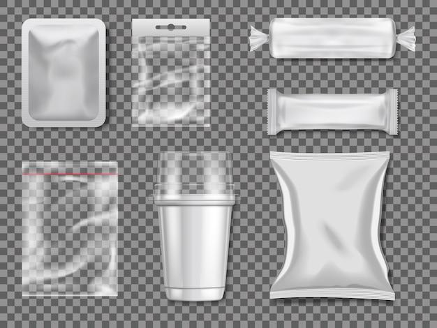 Pacchetti di plastica e trasparenza vuoti. illustrazione del pacchetto di plastica trasparente e trasparente Vettore Premium