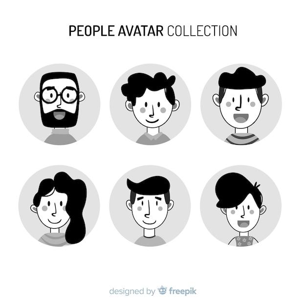 Pacchetto avatar incolore disegnato a mano persone Vettore gratuito