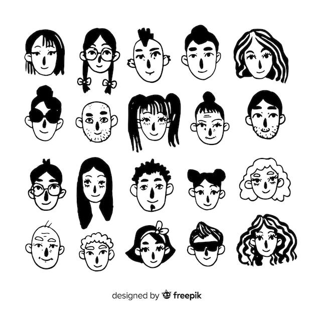 Pacchetto avatar incolore disegnato a mano Vettore gratuito