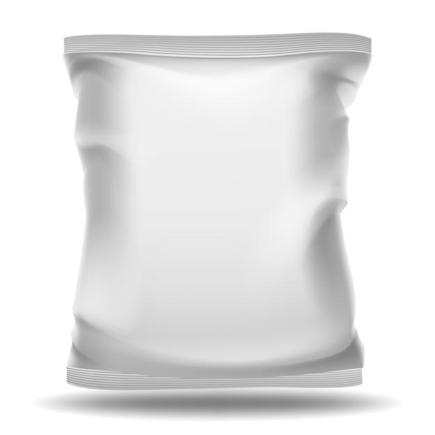 Pacchetto bianco sacchetto vuoto Vettore Premium