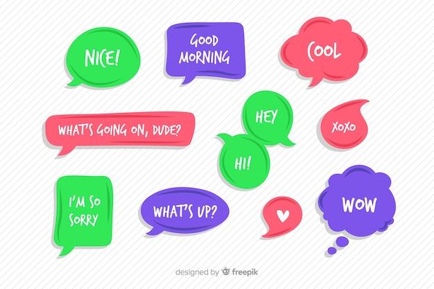 Pacchetto bolle di discorso comico colorato Vettore gratuito