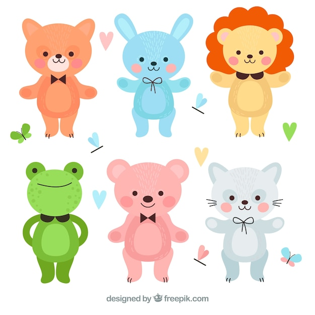 Pacchetto colorato di animali cartone animato